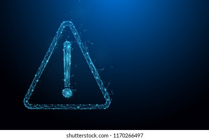 Danger icon and caution sign form lines, triangles and particle style design. Illustration vector