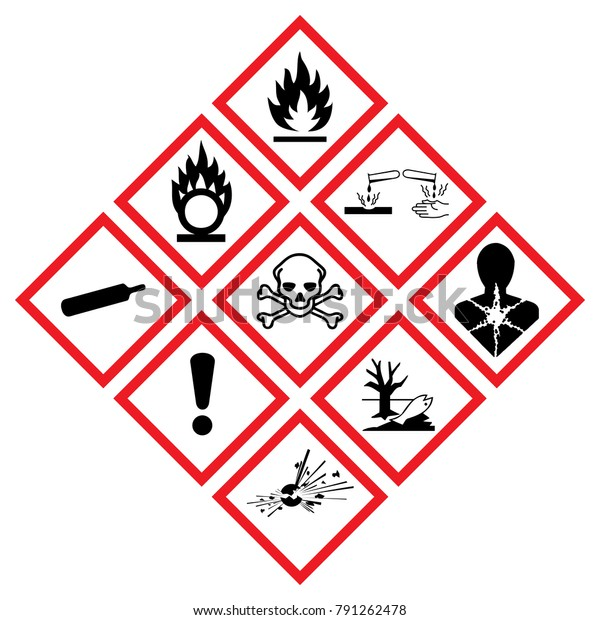 Danger icon chemics. Warning symbol hazard icons Ghs safety pictograms. sign of Physical hazards, Explosive, Flammable Oxidizing, Compressed Gas, Corrosive, toxic, Harmful, Health, Environmental.