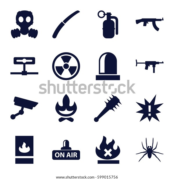 danger icons set. Set of 16 danger filled icons such as spider, gardening knife, no fire, open air, fire protection, siren, security camera, dynamite, mace, gas mask