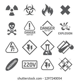 Danger icons set isolated on white 2