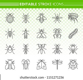 Danger Insect thin line icons set. Outline web sign kit of bed bug. Beetle linear icon collection includes ant, bee, cockroach. Editable stroke without fill. Danger Insect simple contour vector symbol