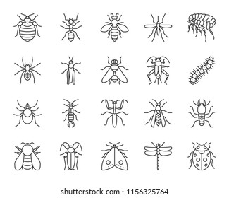 Danger insect thin line icons set. Outline sign kit of bugs. Beetle linear icon collection of dragonfly, fly, spider. Simple danger insect black contour symbol isolated on white. Vector Illustration
