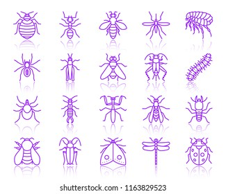 Danger insect thin line icons set. Outline vector sign kit of bug. Beetle linear icon collection includes mite, wasp, gnat mosquito. Simple insect contour symbol with reflection isolated on white