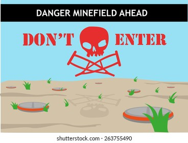 Danger Minefield Ahead Don't Enter Hazard Signage design template that shows Death and Disability to people who walk along the field. Editable EPS10 Vector and large jpg illustration.
