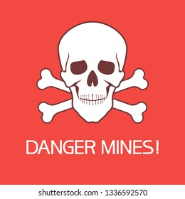 Danger mines,sign.Hazard to health and life, an information sign identifying a dangerous area.