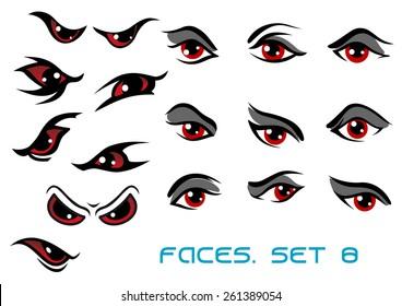 Danger monster aand evil red eyes set for faces depicting a range of expressions