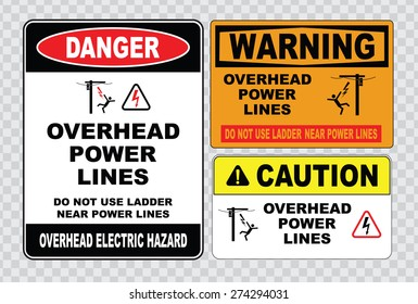 danger overhead power lines or electrical safety sign (do not use ladder near power lines, warning overhead electric hazard).