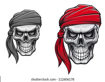 Danger pirate skull in bandane for tattoo or t-shirt design. Jpeg version also available in gallery