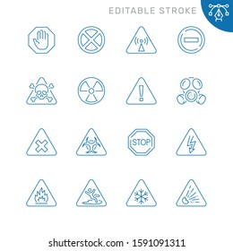 Danger related icons. Editable stroke. Thin vector icon set