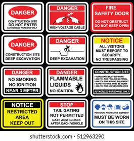 Danger restriction signage like high voltage cable, deep excavation, no trespassing, flammable liquids, no ignition near 3 meter, no tail gating, mandatory must be worn warning  signage, icons, signs.
