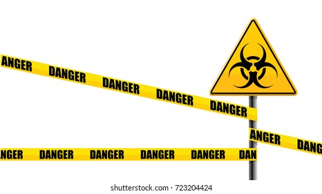 danger ribbon with biohazard road sign, isolated on white background