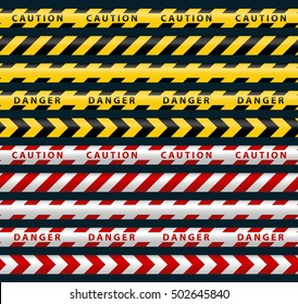 Danger Ribbons Set. Yellow Black, Red White Police Line.