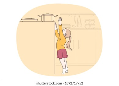 Danger, risk, curiosity concept. Small girl cartoon character reaching up for cooking pan on stove in kitchen without parents control vector illustration