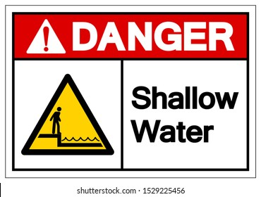 Danger Shallow Water Symbol Sign, Vector Illustration, Isolated On White Background Label .EPS10