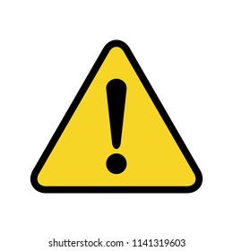 Danger sign. The attention icon. Danger symbol. Vector attention sign with exclamation mark icon. Risk sign vector illustration.
