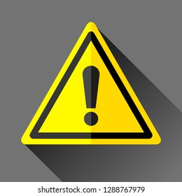 Danger sign icon in flat style on gray background, error emblem in yellow triangle, vector design illustration for you project
