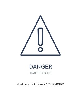 Danger sign icon. Danger sign linear symbol design from Traffic signs collection. Simple outline element vector illustration on white background