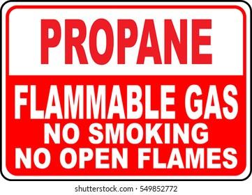 danger sign propane flammable gas no smoking no open flames