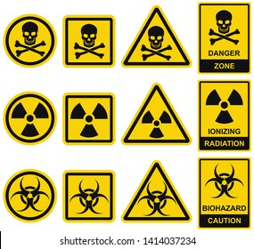 Danger sign. Set of vector icons. Hazard and warning symbols: radiation ionization, biohazard caution and danger zone. Collection of universal recognisable signs: bones with  skull, radioactivity.