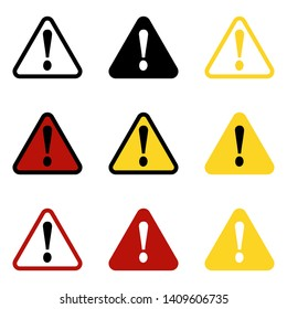 Danger sign, warning sign, attention sign. Danger icon, warning icon attention icon