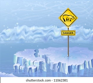 Danger sign warning of polar bears
