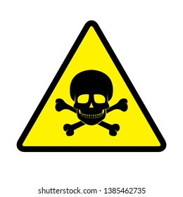 Danger sign in yellow background drawing by illustration