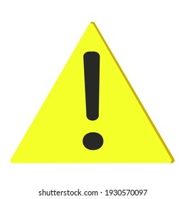 Danger sign. Yellow triangle with exclamation mark. Yellow warning sign. Stock Vector