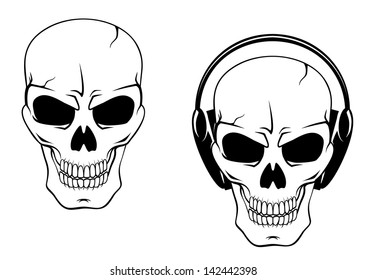 Danger skull in headphones isolated on white background. Jpeg version also available in gallery