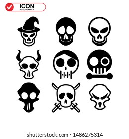 Danger skull icon isolated sign symbol vector illustration - Collection of high quality black style vector icons