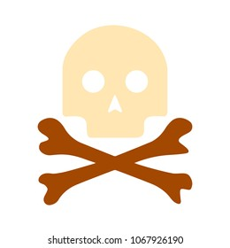 danger skull icon, vector skull crossbones symbol - danger sign