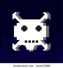 danger skull pixelated icon vector ilustration