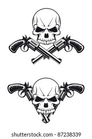 Danger skull with revolvers for tattoo design, such a logo. Rasterized version also available in gallery