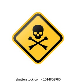 danger skull yellow signs, symbols, icons stock vector