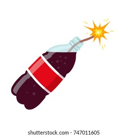 Danger of sugary drinks vector illustration. Soda bottle as dynamite causing diabetes and obesity. Health harm of sugar concept.