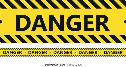 Danger tape. Black and yellow line striped. Vector illustration.