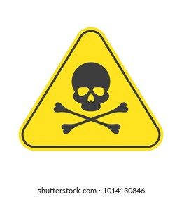Danger vector sign. Caution Sign. Skull and crossbones symbol isolated on a white background. EPS 10.