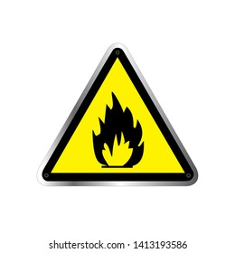 Danger vector sign. Highly Flammable sign triangle yellow warning sign. Vector, illustration. GHS hazard pictogram - flammable , hazard warning sign flammable icon isolated on white background.