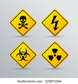 Danger vector sign set isolated on grey background