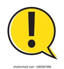 Danger warning attention sign in a speech bubble, vector illustration