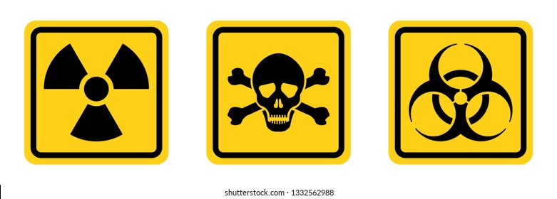 Danger warning diamond shape yellow sign. Radiation sign, Toxic sign and biohazard vector icon isolated on white background.