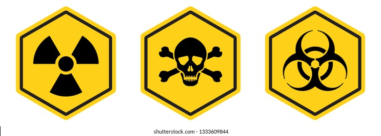 Danger warning hexagon shape yellow sign. Radiation sign, Toxic sign and biohazard vector icon isolated on white background.