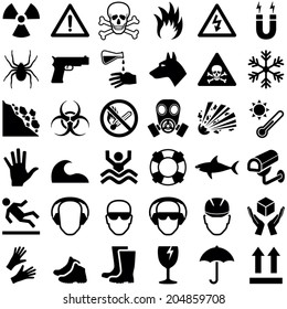 Danger and Warning icon collection - vector illustration