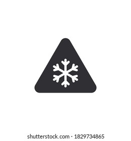 Danger warning icon. Danger warning. Vector icon. Risk sign. Information sign. Alert sign. Alarm sign. Attention snowfall. Snowflake icon. Frost symbol. Refrigerator icon. Ice mark. Precipitation