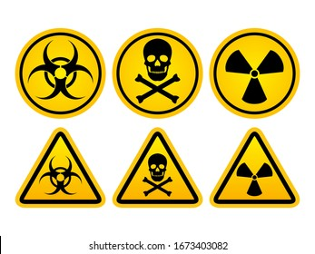 Danger warning set circle and triangle yellow sign. Radiation symbol, toxic sign and Bio hazard vector icon isolated on white background.