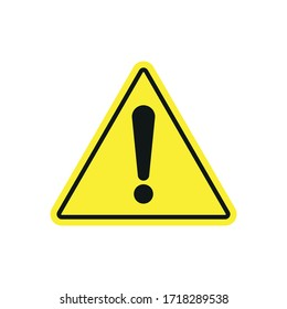 Danger warning sign. Exclamation mark on a yellow triangle. Simple flat vector illustration.