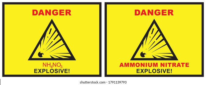 Danger warning sign explosion Ammonium nitrate Attention is an explosive. Yellow Vector Chemical Hazard Warning NH4NO3 Background