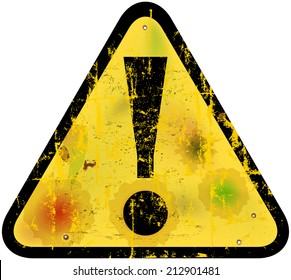 Danger warning sign w. exclamation mark, vector illustration