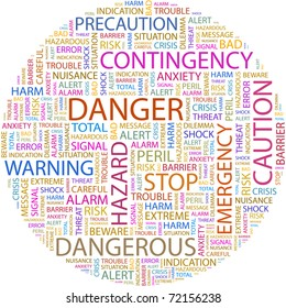 DANGER. Word collage on white background. Vector illustration. Illustration with different association terms.