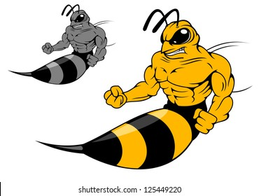 Danger yellow hornet with sting in cartoon style for mascot design, such as idea of logo. Jpeg version also available in gallery