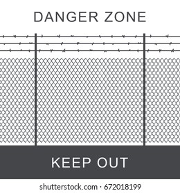 Danger zone with rabitz grid metal fence.